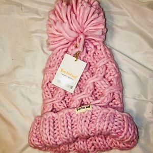 Three bird nest Pom Pom knit hat